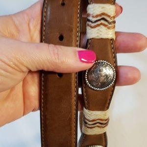 Tony Lama Western Cowgirl Leather Belt Conchos